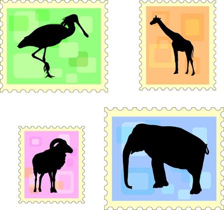 dier postzegels Stock Illustratie