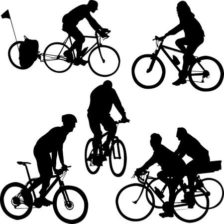 cyclist: fietsers silhouetten - vector Stock Illustratie