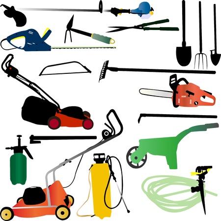 crop sprayer: garden tools set - vector