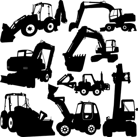excavator: construction machines - vector Illustration