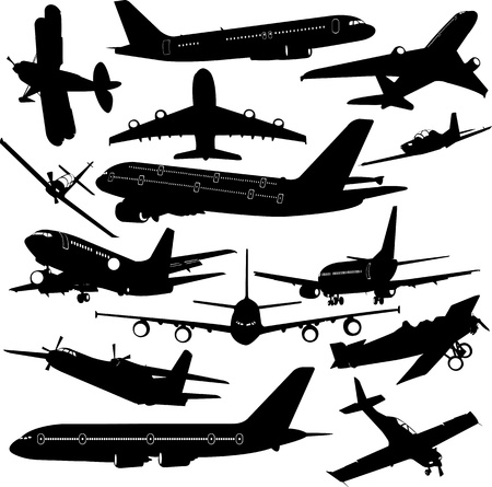 fighter plane: airplane collection - vector