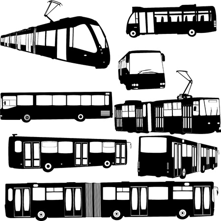 tramway: urban transportation collection - vector