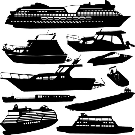 ships transportation collection  cruiser, motor-yacht 向量圖像