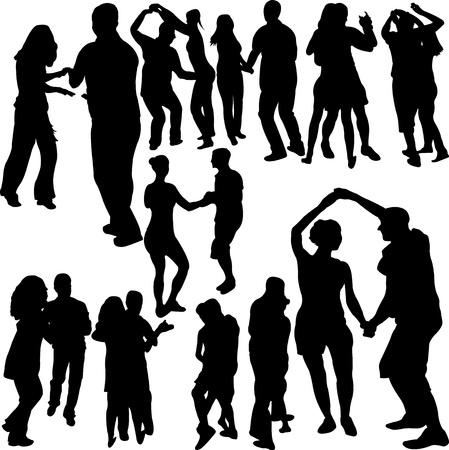 bailes latinos: Conjunto de siluetas de una pareja de baile. Vectores