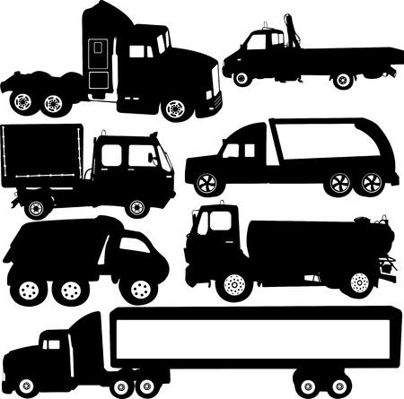 vrachtwagen silhouetten set