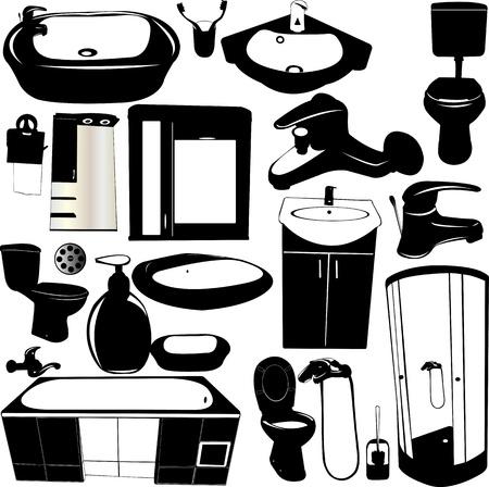 set van badkamer objecten Stock Illustratie