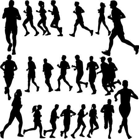 running people set   Stock Illustratie