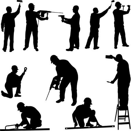 equipos trabajo: trabajadores de la construcci�n Vectores
