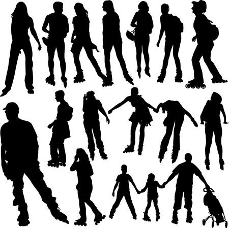 rollerskating silhouettes Reklamní fotografie - 17575806