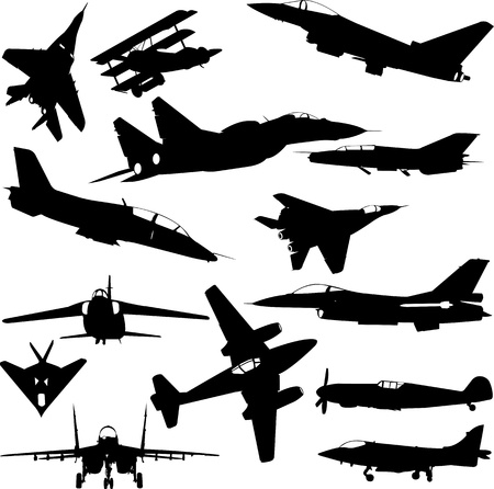 jet engine: military airplanes collection - vector