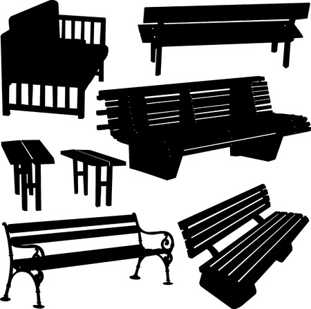 bench silhouette - vector Stock Vector - 17695106