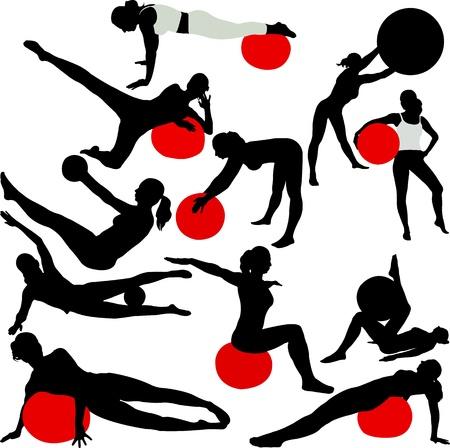 pilates women silhouettes - vector Vector