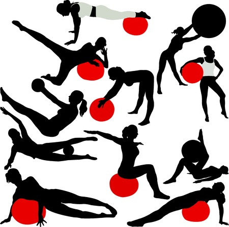 physical fitness: pilates women silhouettes - vector