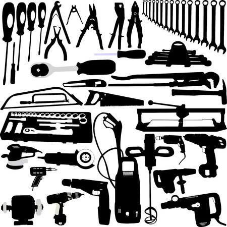 pliers: tools silhouettes collection - vector