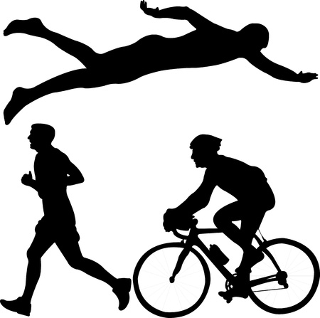 cyclist silhouette: triathlon - vector Illustration