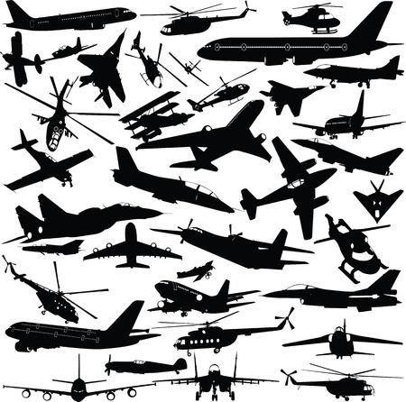 Flugzeuge, Militärflugzeuge, Hubschrauber Sammlung Illustration