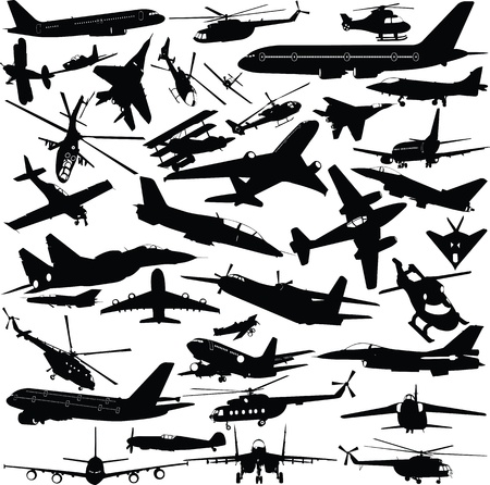 airplanes,military airplanes,helicopter collection  Stock Illustratie