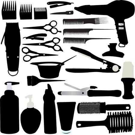 peigne et ciseaux: Accessoires cheveux Silhouette Vector Illustration