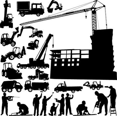 construction equipment: construction objects crane - worker - building - skimmer