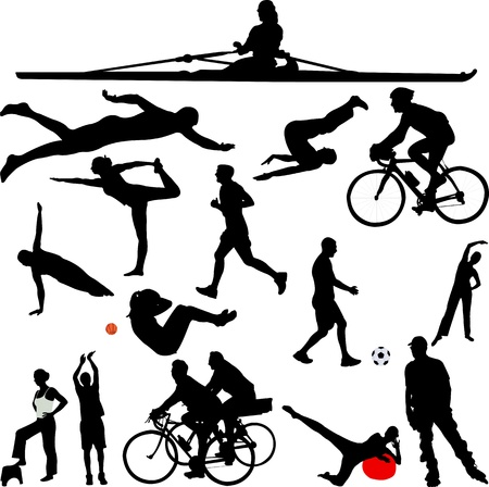 recreation sport silhouettes - vector Vector