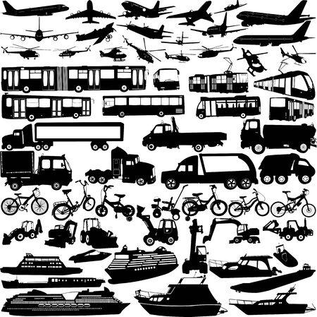 vervoer silhouetten collectie Stock Illustratie