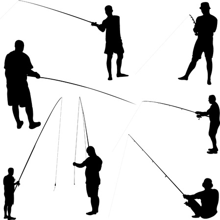 resting rod fishing: fishermen and fishing - vector