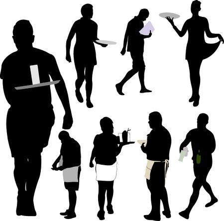 obers en serveersters silhouet collectie - vector