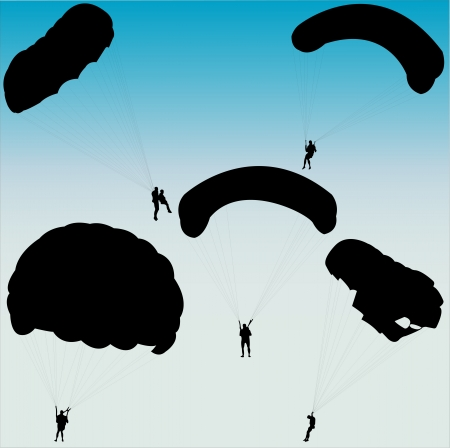 airplay: parachutists silhouette collection - vector