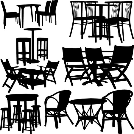 tables and chairs collection - vector 向量圖像