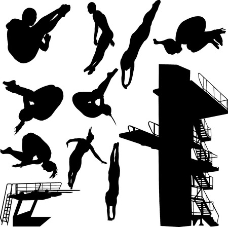 woman jump: diving collection - vector