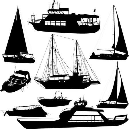 boats silhouettes - vector