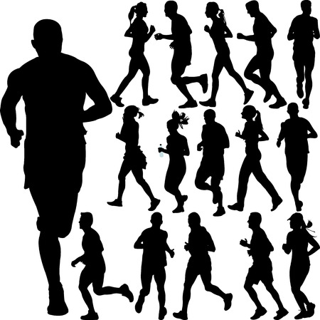man shadow: running people collection - vector