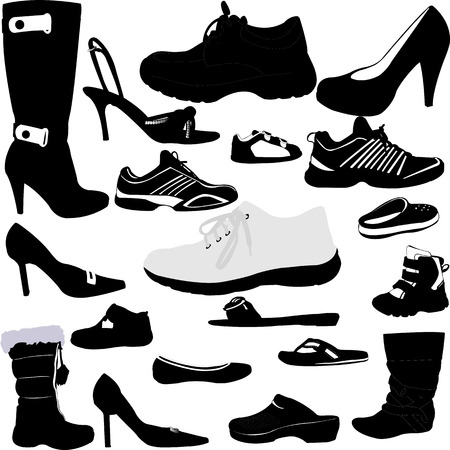 shoes vector: shoes silhouettes collection - vector Illustration