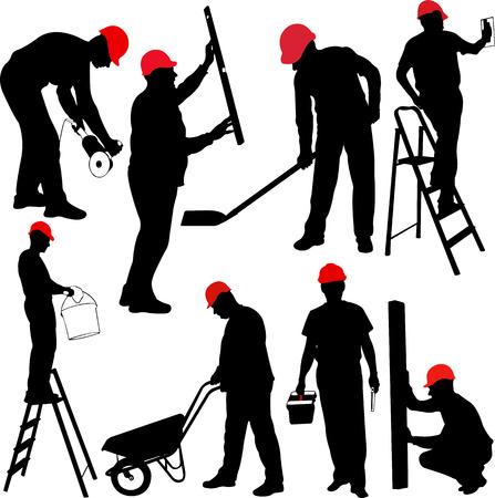 建設労働者のシルエット - ベクターします。  イラスト・ベクター素材