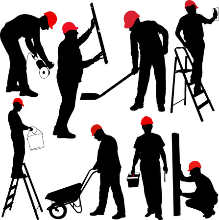 construction workers silhouettes - vector Çizim