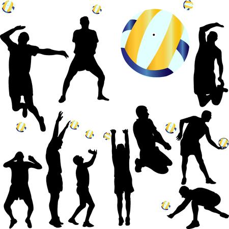 volleyball player set - vector Illustration