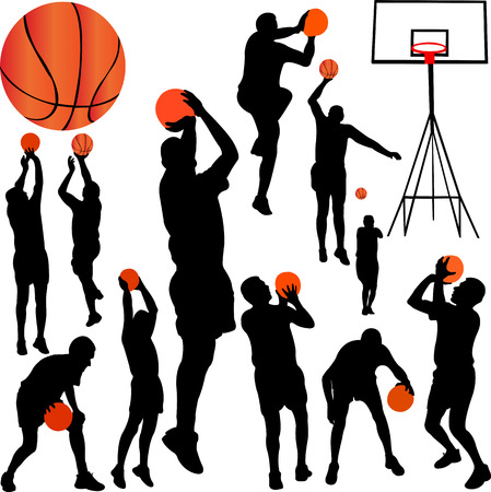 basketball players collection vector Vector