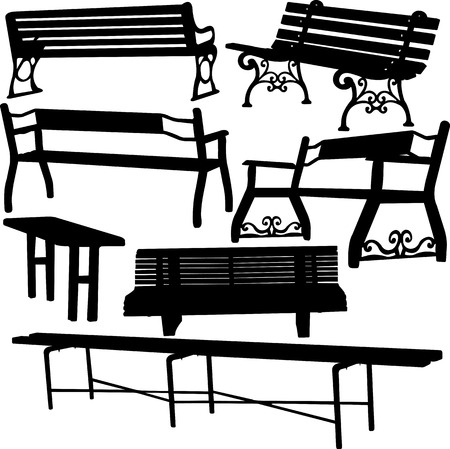 timber bench seat: bench silhouette - vector Illustration