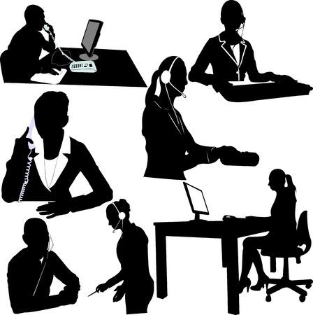 secretaria: vector de operador de centro de Secretario y llamada