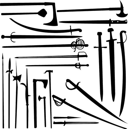 swords and knifes silhouettes - vector