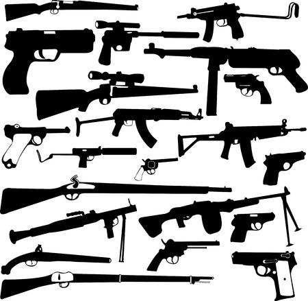 gun silhouette: weapon collection - vector