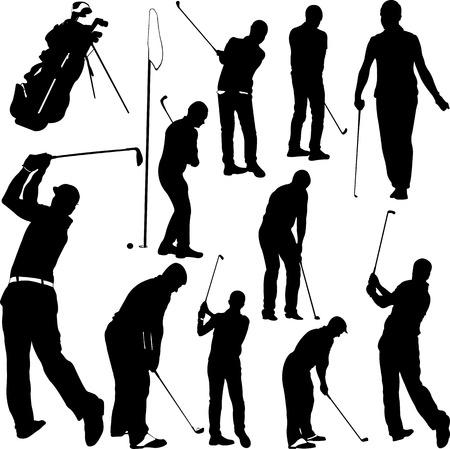 Golf-spelers en apparatuur silhouetten - vector