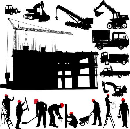 Bau-Objekte Vektor-Kran - Worker - Gebäude - Skimmer Illustration