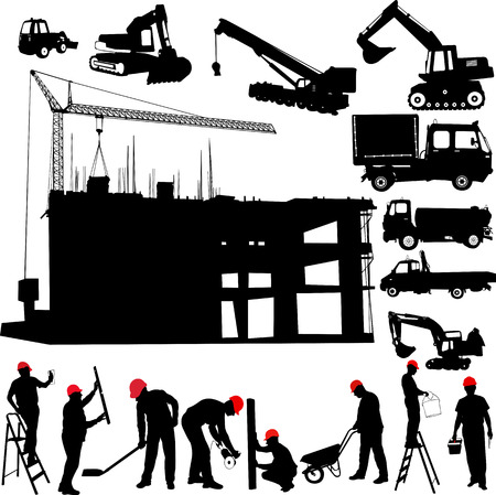 construction objects vector  crane - worker - building - skimmer  Vector