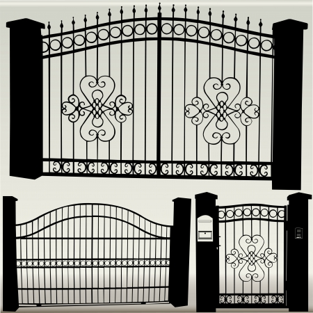 iron fence: iron gates - vector