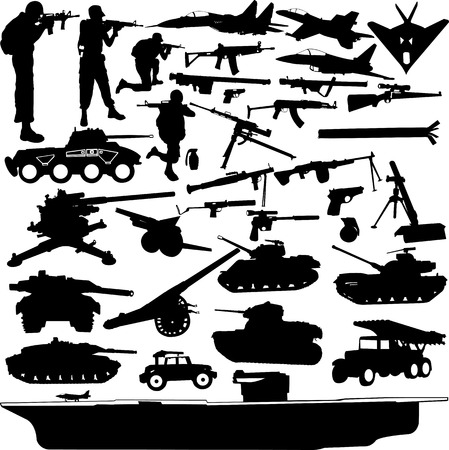 battle tank: military objects collection -vector