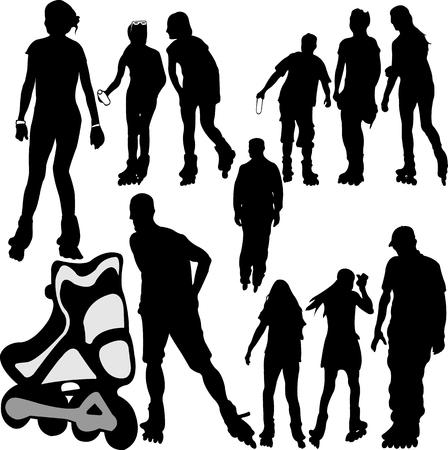 rollerskating silhouettes 1 - vector Illustration