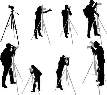 tripod: photographers silhouettes - vector