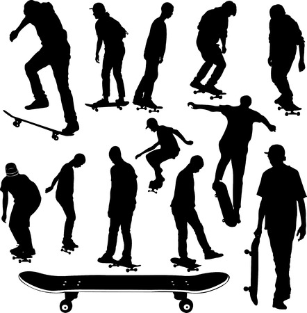 skateboard: skateboarders collection silhouettes - vector Illustration