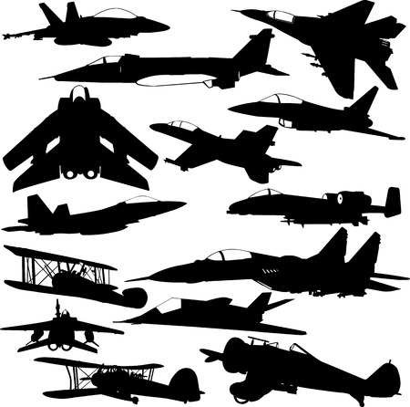 military airplanes collection 1 - vector Illustration